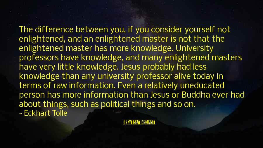 Jesus Is Alive Sayings By Eckhart Tolle: The difference between you, if you consider yourself not enlightened, and an enlightened master is