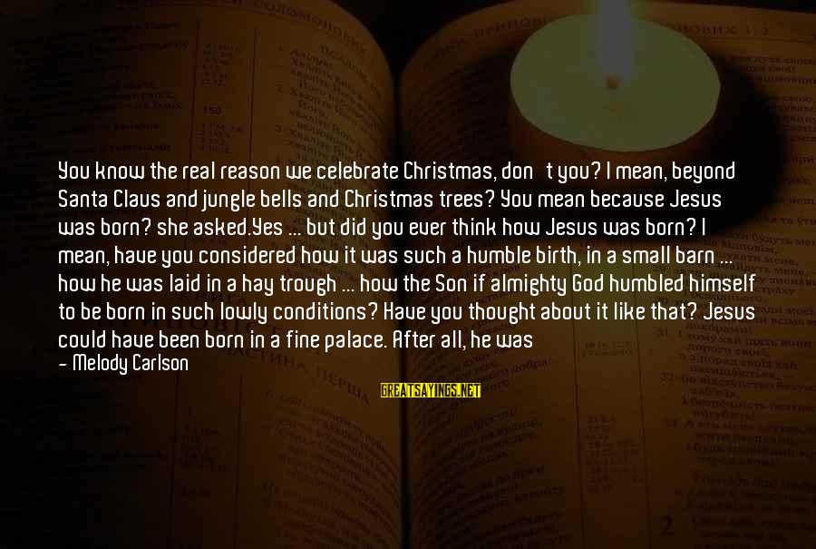 Jesus Is Born Christmas Sayings By Melody Carlson: You know the real reason we celebrate Christmas, don't you? I mean, beyond Santa Claus