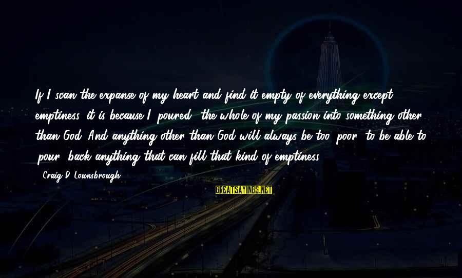 Jesus Passion Sayings By Craig D. Lounsbrough: If I scan the expanse of my heart and find it empty of everything except