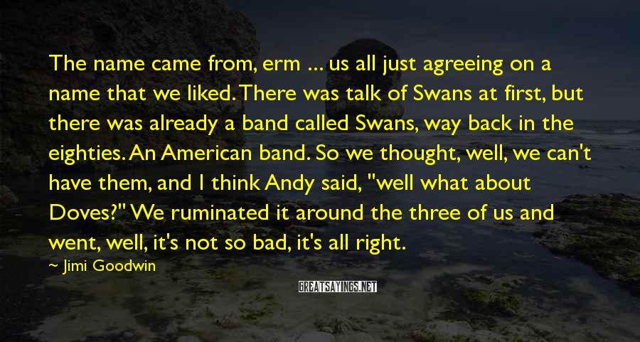 Jimi Goodwin Sayings: The name came from, erm ... us all just agreeing on a name that we