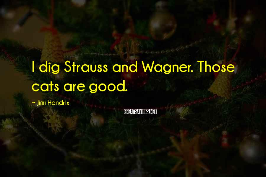 Jimi Hendrix Sayings: I dig Strauss and Wagner. Those cats are good.