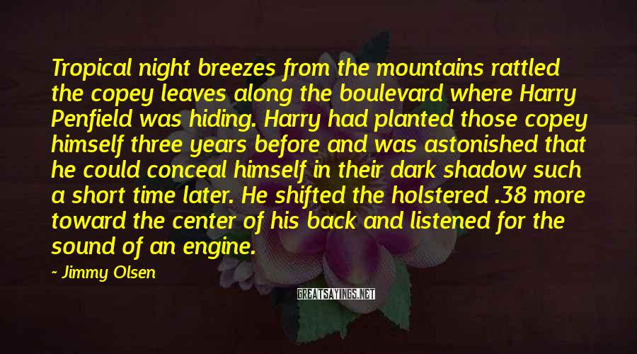 Jimmy Olsen Sayings: Tropical night breezes from the mountains rattled the copey leaves along the boulevard where Harry