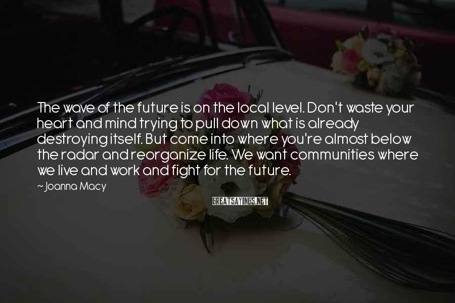 Joanna Macy Sayings: The wave of the future is on the local level. Don't waste your heart and