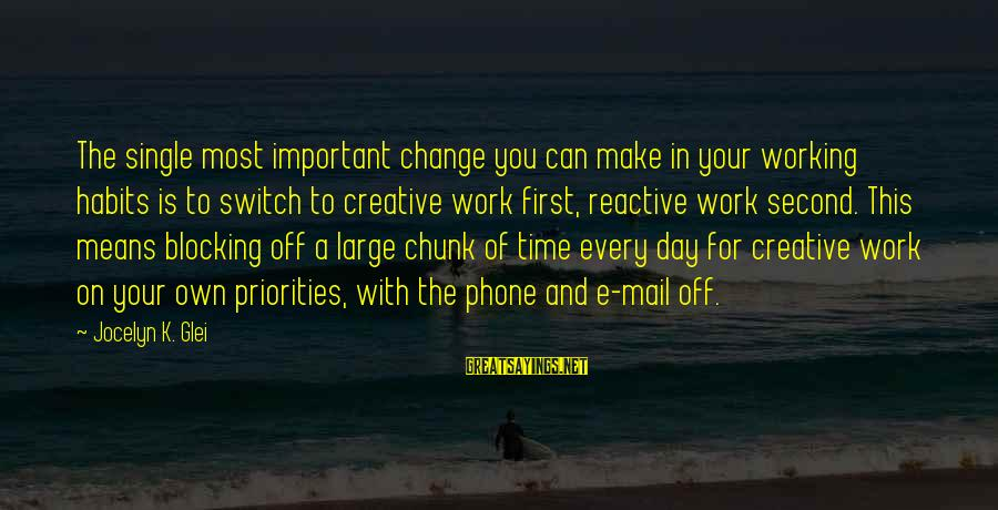 Jocelyn's Sayings By Jocelyn K. Glei: The single most important change you can make in your working habits is to switch