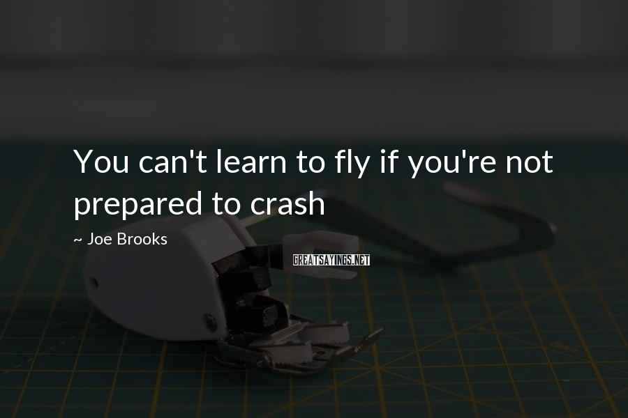 Joe Brooks Sayings: You can't learn to fly if you're not prepared to crash