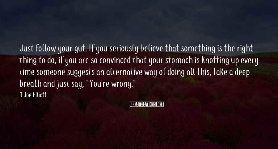 Joe Elliott Sayings: Just follow your gut. If you seriously believe that something is the right thing to
