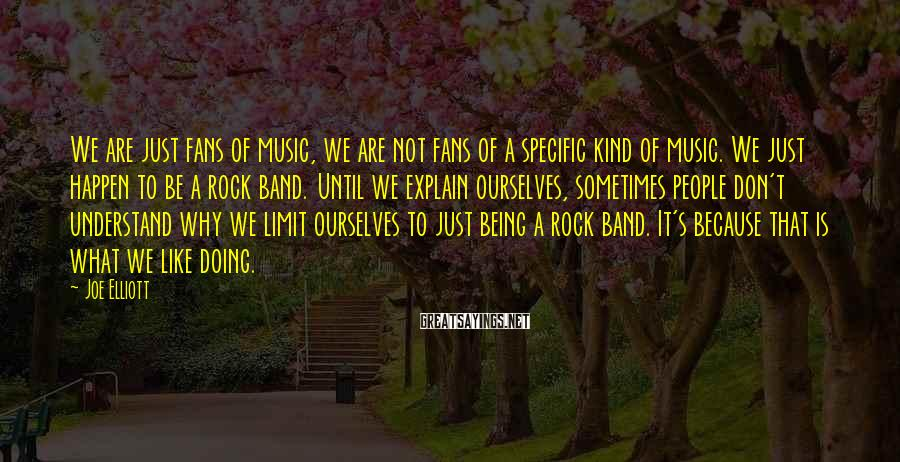 Joe Elliott Sayings: We are just fans of music, we are not fans of a specific kind of