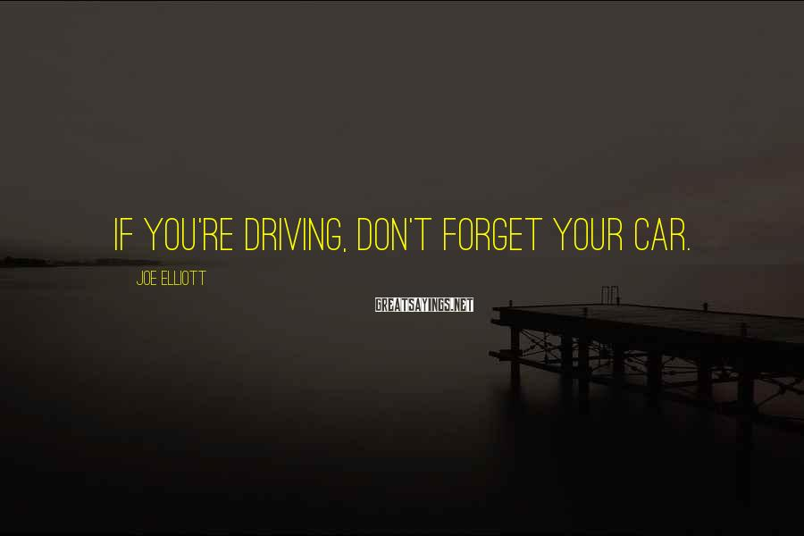 Joe Elliott Sayings: If you're driving, don't forget your car.
