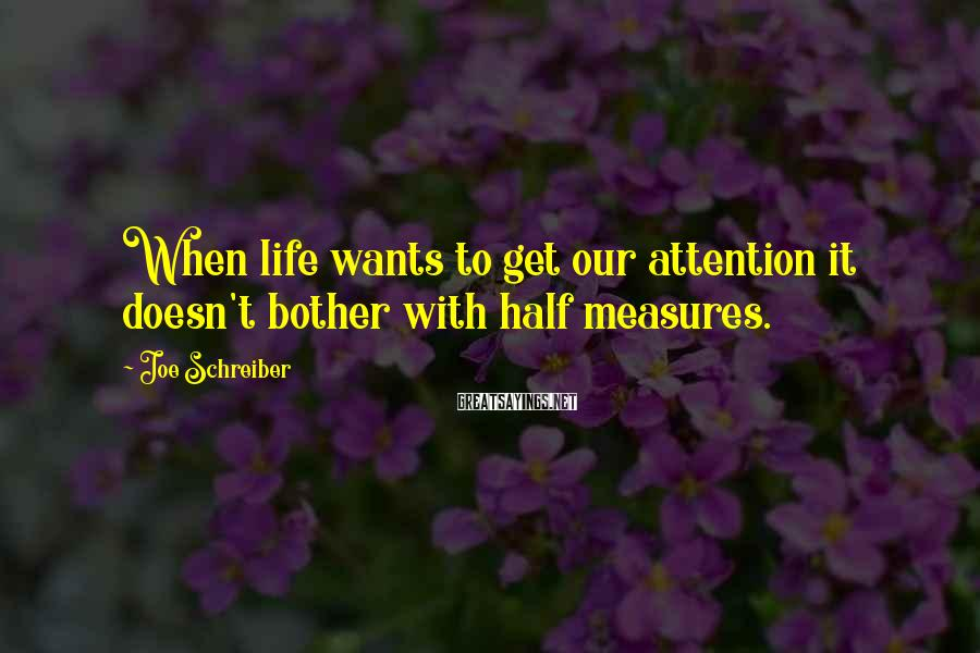 Joe Schreiber Sayings: When life wants to get our attention it doesn't bother with half measures.