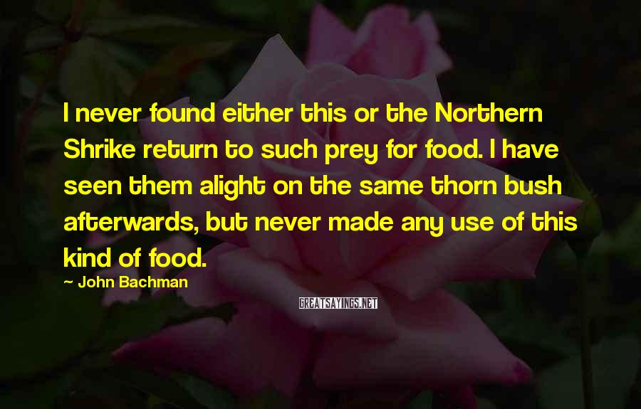 John Bachman Sayings: I never found either this or the Northern Shrike return to such prey for food.