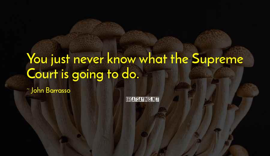 John Barrasso Sayings: You just never know what the Supreme Court is going to do.