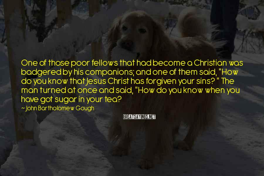 John Bartholomew Gough Sayings: One of those poor fellows that had become a Christian was badgered by his companions;