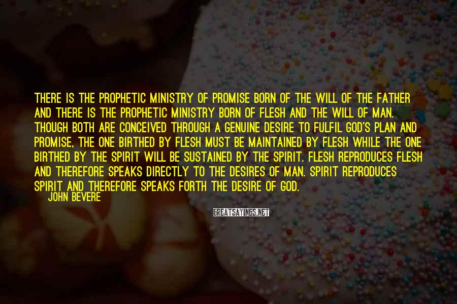 John Bevere Sayings: There is the prophetic ministry of promise born of the will of the Father and