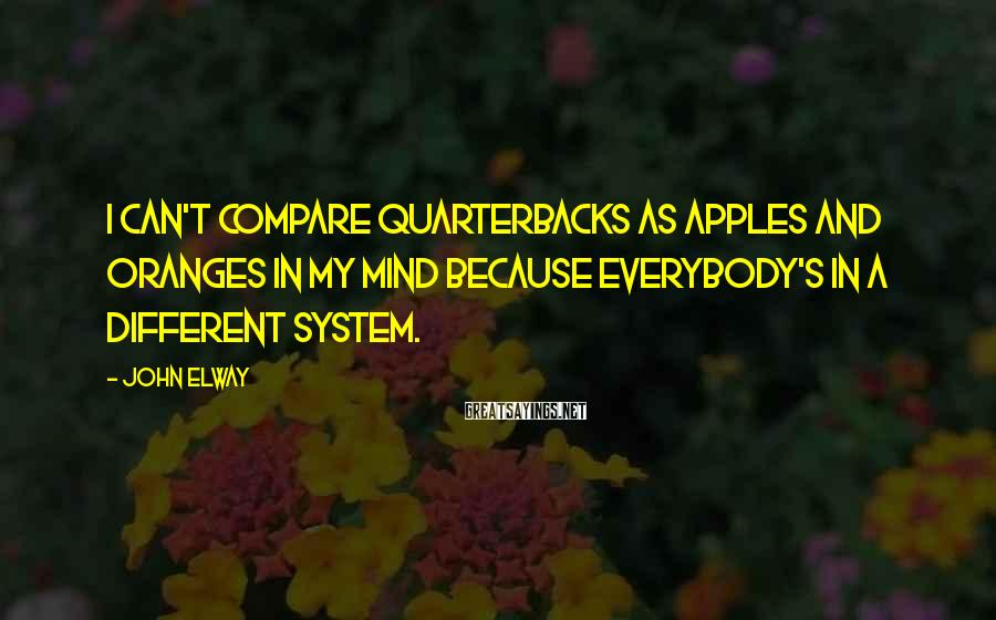 John Elway Sayings: I can't compare quarterbacks as apples and oranges in my mind because everybody's in a