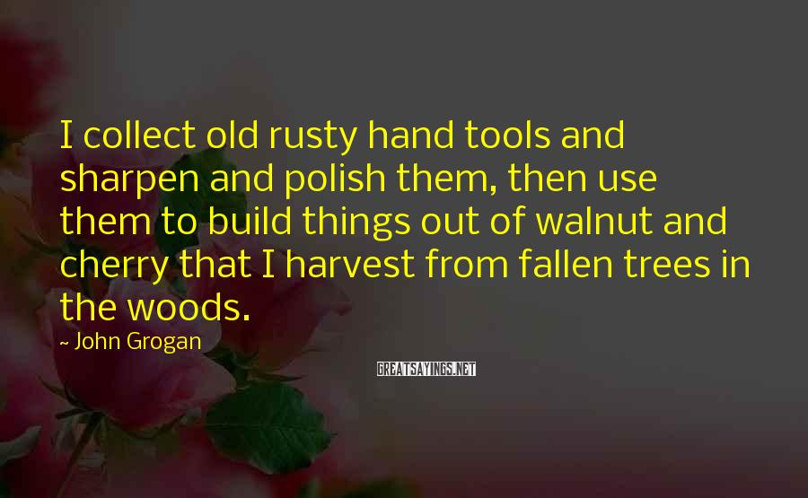 John Grogan Sayings: I collect old rusty hand tools and sharpen and polish them, then use them to
