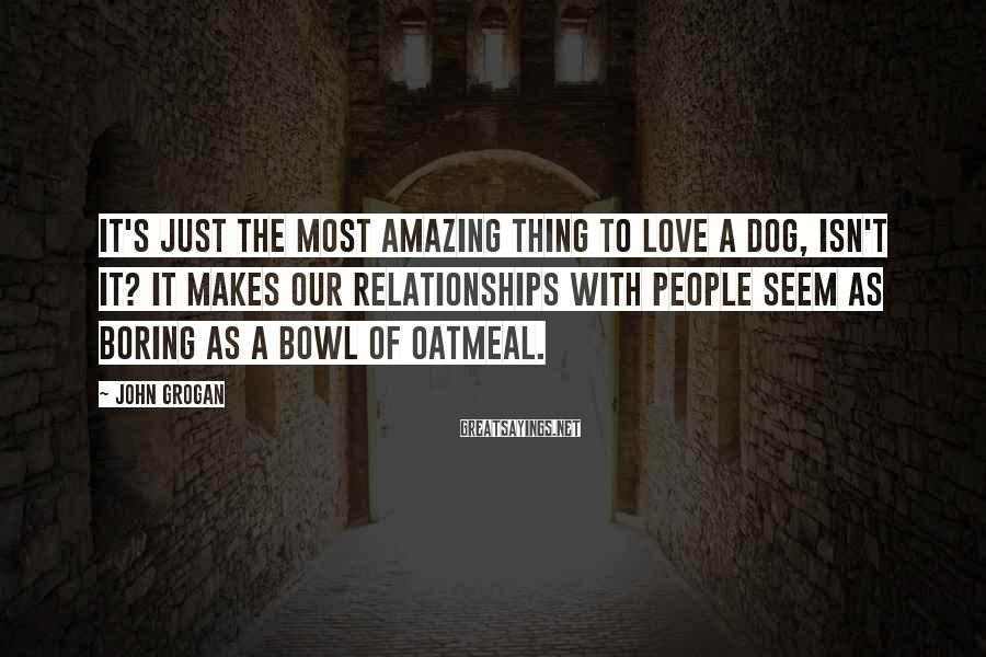 John Grogan Sayings: It's just the most amazing thing to love a dog, isn't it? It makes our