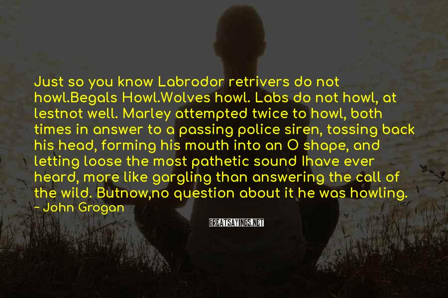 John Grogan Sayings: Just so you know Labrodor retrivers do not howl.Begals Howl.Wolves howl. Labs do not howl,