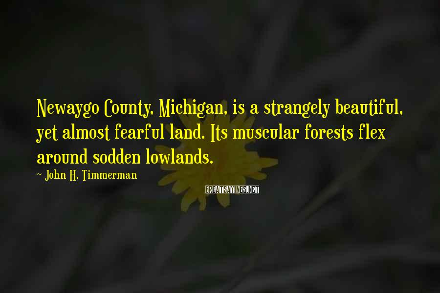 John H. Timmerman Sayings: Newaygo County, Michigan, is a strangely beautiful, yet almost fearful land. Its muscular forests flex