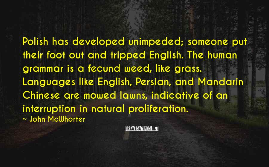 John McWhorter Sayings: Polish has developed unimpeded; someone put their foot out and tripped English. The human grammar