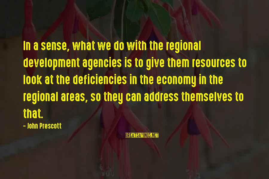 John Prescott Sayings By John Prescott: In a sense, what we do with the regional development agencies is to give them