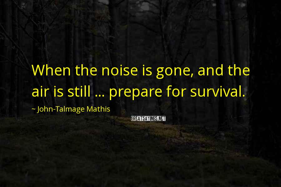 John-Talmage Mathis Sayings: When the noise is gone, and the air is still ... prepare for survival.