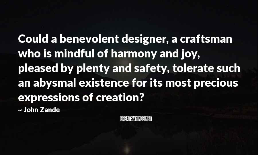 John Zande Sayings: Could a benevolent designer, a craftsman who is mindful of harmony and joy, pleased by
