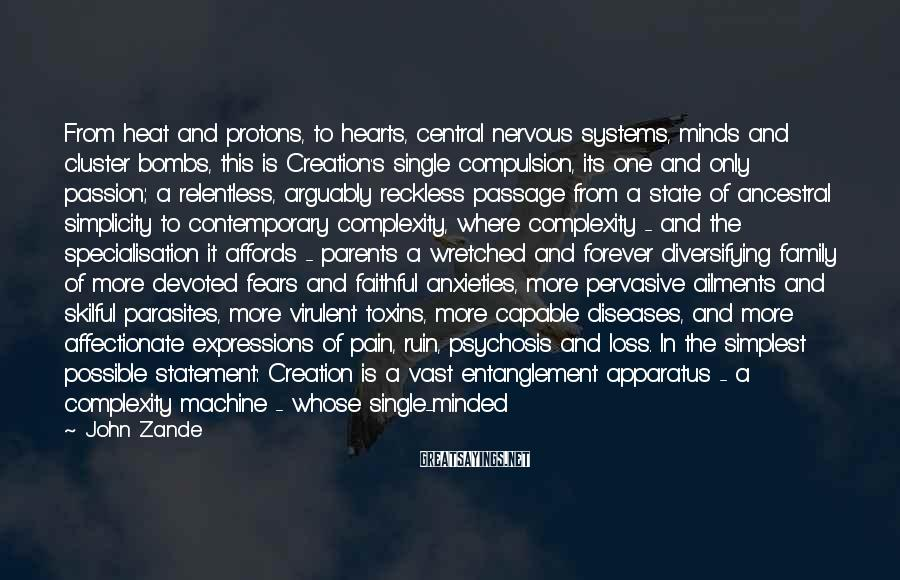 John Zande Sayings: From heat and protons, to hearts, central nervous systems, minds and cluster bombs, this is