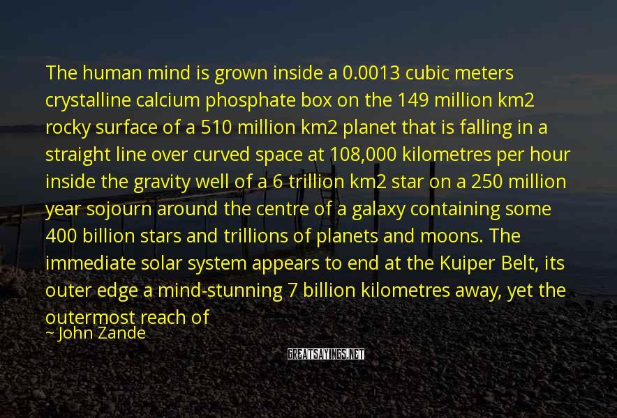 John Zande Sayings: The human mind is grown inside a 0.0013 cubic meters crystalline calcium phosphate box on