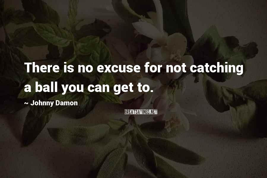 Johnny Damon Sayings: There is no excuse for not catching a ball you can get to.