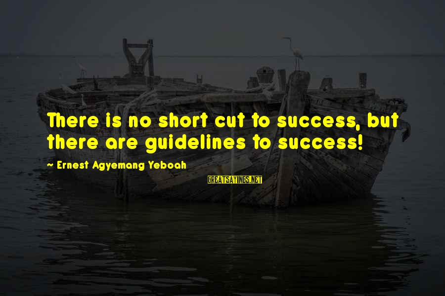 Journey To Greatness Sayings By Ernest Agyemang Yeboah: There is no short cut to success, but there are guidelines to success!
