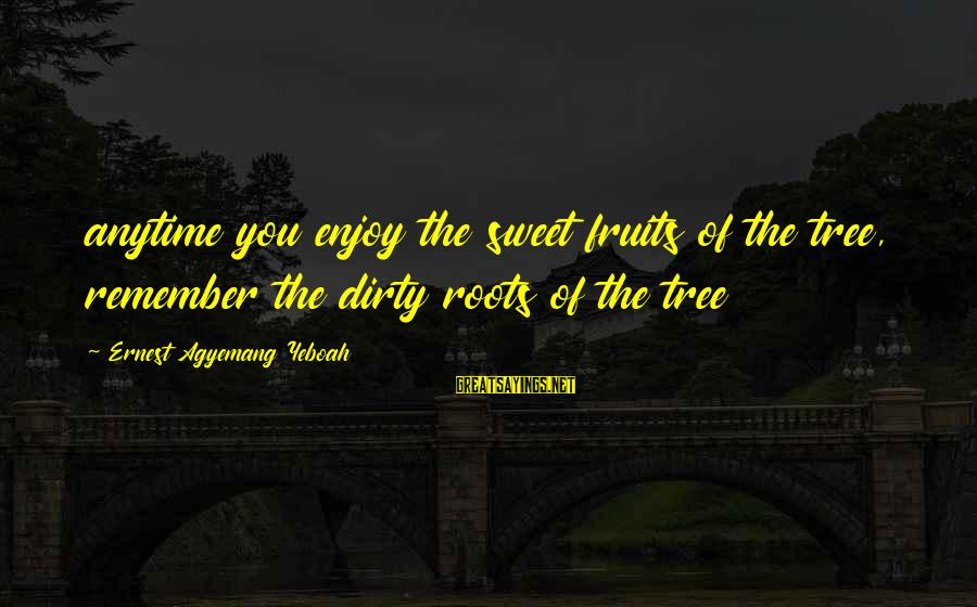 Journey To Greatness Sayings By Ernest Agyemang Yeboah: anytime you enjoy the sweet fruits of the tree, remember the dirty roots of the