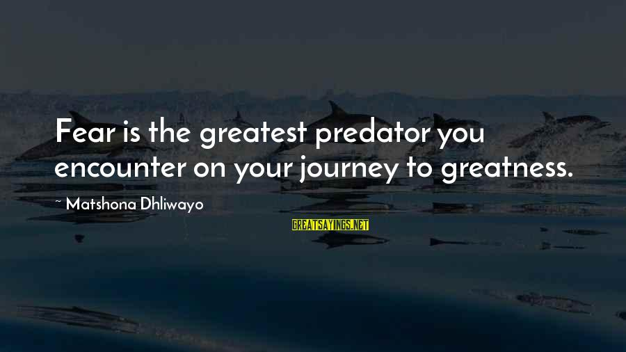 Journey To Greatness Sayings By Matshona Dhliwayo: Fear is the greatest predator you encounter on your journey to greatness.