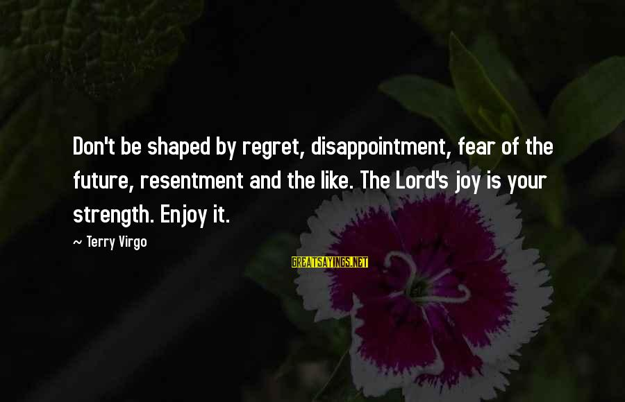 Joy Of The Lord Is My Strength Sayings By Terry Virgo: Don't be shaped by regret, disappointment, fear of the future, resentment and the like. The