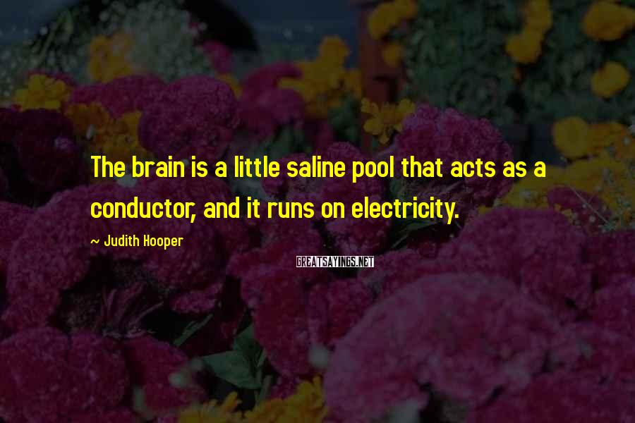 Judith Hooper Sayings: The brain is a little saline pool that acts as a conductor, and it runs