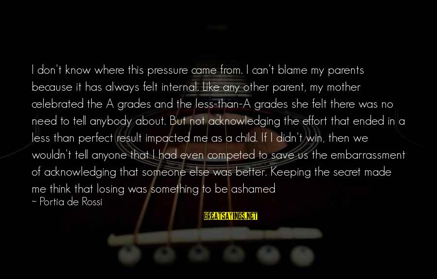 Just Like A Mother To Me Sayings By Portia De Rossi: I don't know where this pressure came from. I can't blame my parents because it