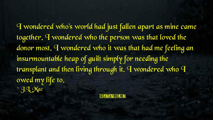 Just Living My Life Sayings By J.L. Mac: I wondered who's world had just fallen apart as mine came together. I wondered who