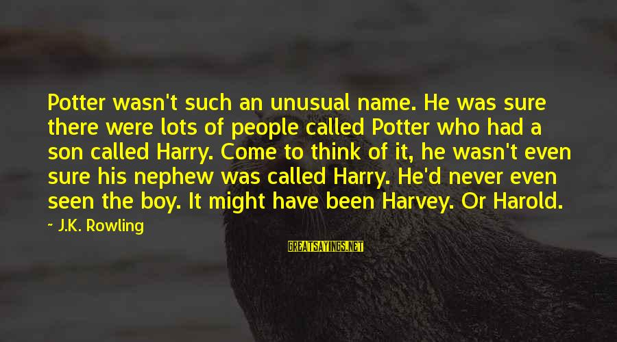 K.a.t Sayings By J.K. Rowling: Potter wasn't such an unusual name. He was sure there were lots of people called