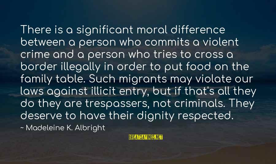 K On Sayings By Madeleine K. Albright: There is a significant moral difference between a person who commits a violent crime and
