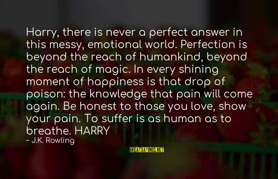K-os Sayings By J.K. Rowling: Harry, there is never a perfect answer in this messy, emotional world. Perfection is beyond