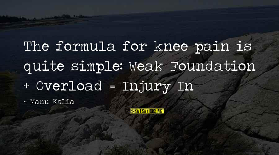 Kalia Sayings By Manu Kalia: The formula for knee pain is quite simple: Weak Foundation + Overload = Injury In