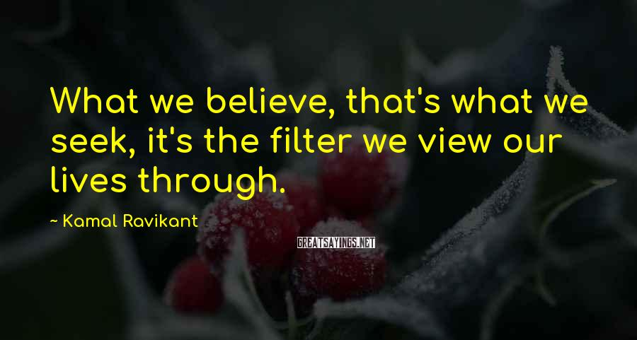 Kamal Ravikant Sayings: What we believe, that's what we seek, it's the filter we view our lives through.
