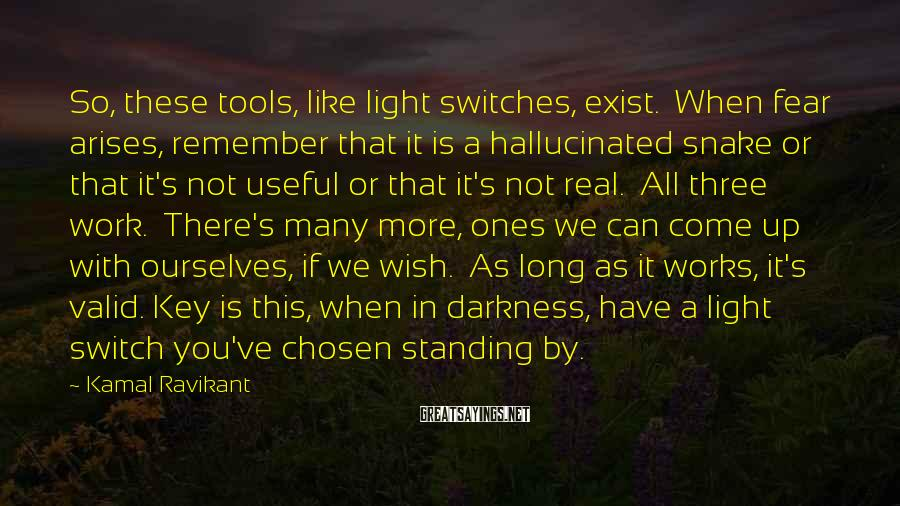 Kamal Ravikant Sayings: So, these tools, like light switches, exist. When fear arises, remember that it is a