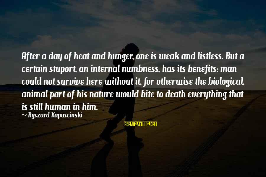Kapuscinski Sayings By Ryszard Kapuscinski: After a day of heat and hunger, one is weak and listless. But a certain