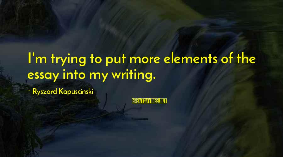 Kapuscinski Sayings By Ryszard Kapuscinski: I'm trying to put more elements of the essay into my writing.