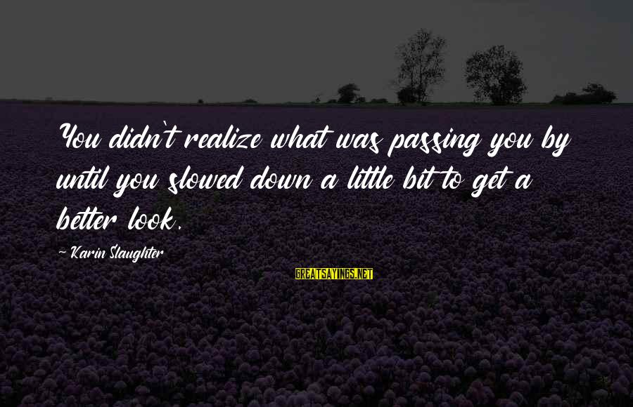 Karin Sayings By Karin Slaughter: You didn't realize what was passing you by until you slowed down a little bit
