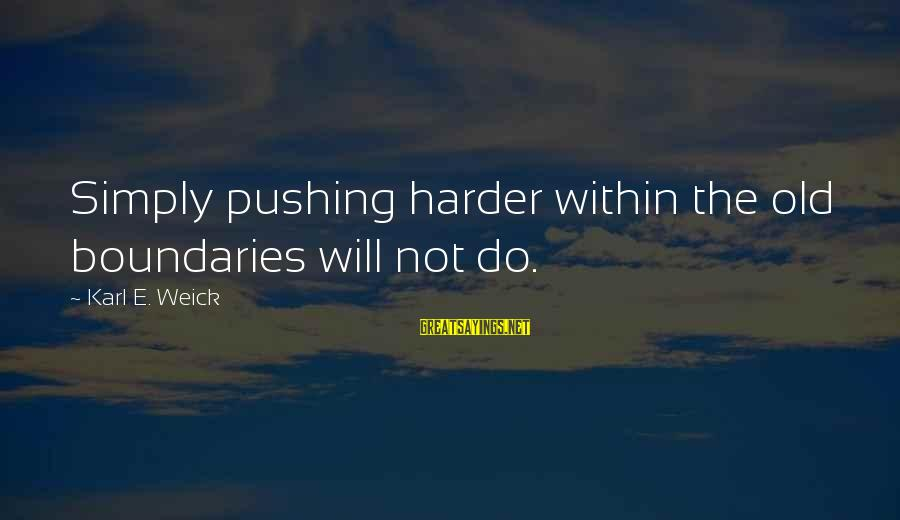 Karl E Weick Sayings By Karl E. Weick: Simply pushing harder within the old boundaries will not do.