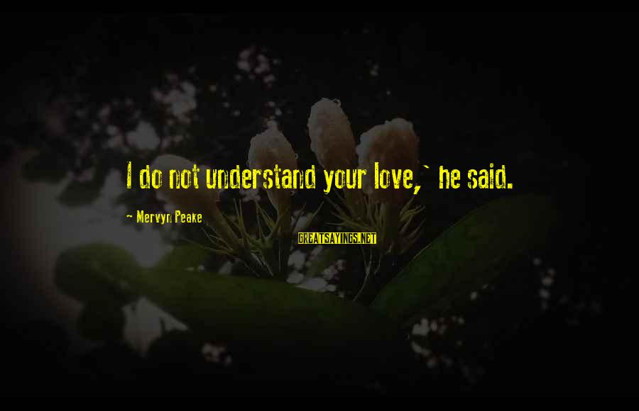 Keda Sayings By Mervyn Peake: I do not understand your love,' he said.