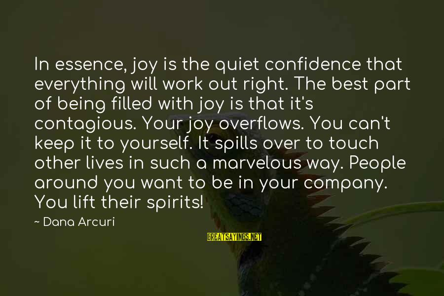 Keep Positive Quotes Sayings By Dana Arcuri: In essence, joy is the quiet confidence that everything will work out right. The best