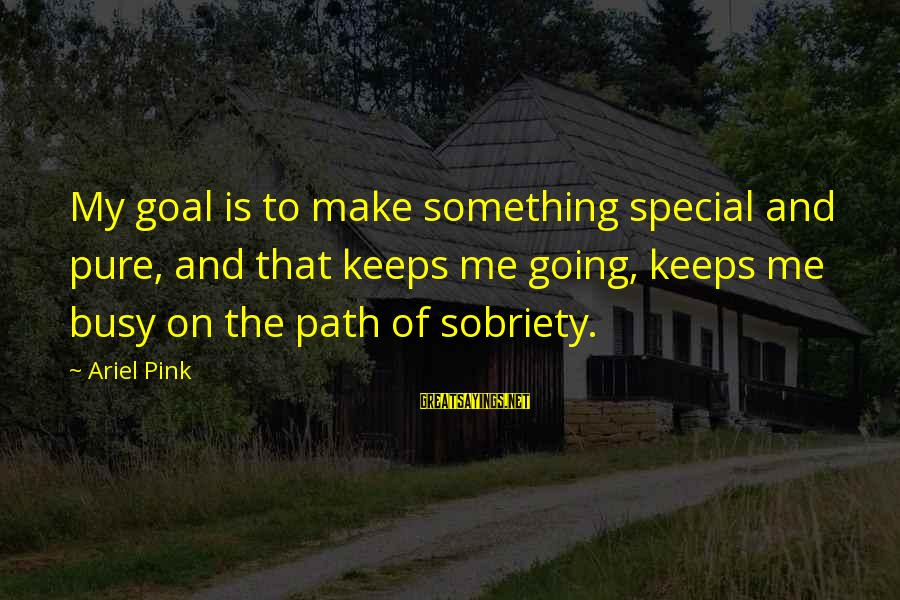 Keeps Me Going Sayings By Ariel Pink: My goal is to make something special and pure, and that keeps me going, keeps