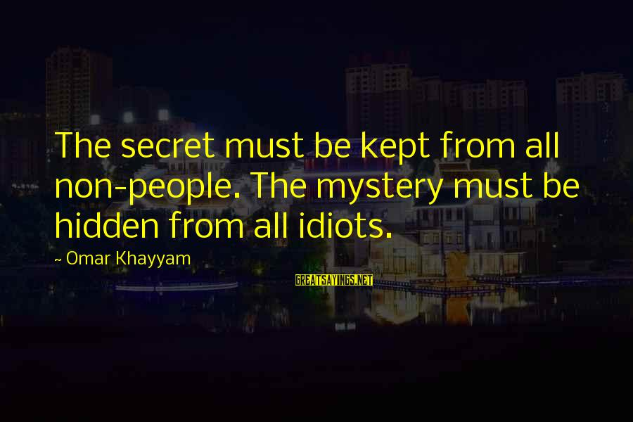 Kept Secret Sayings By Omar Khayyam: The secret must be kept from all non-people. The mystery must be hidden from all